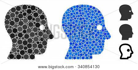 Silent Head Mosaic Of Small Circles In Various Sizes And Color Tinges, Based On Silent Head Icon. Ve