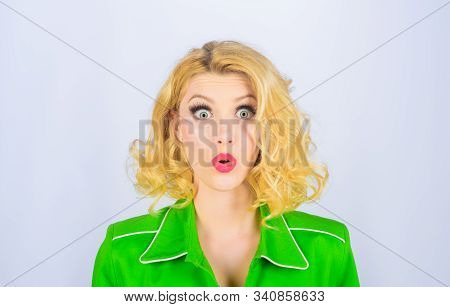 Beautiful Surprised Woman With Clean Skin. Perfect Make-up. Pretty Blond Girl. Emotional Woman Has S