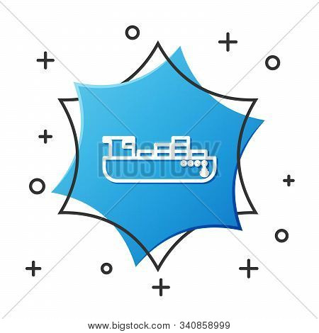 White Line Cargo Ship With Boxes Delivery Service Icon Isolated On White Background. Delivery, Trans