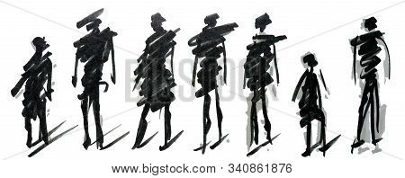 Set Of Pedestrians Figure Different Poses, Hand Drawn Marker Sketch. Template For Drawing аnd Scetch
