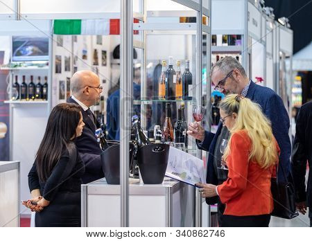 Cracow, Poland - November 20, 2019: International Wine Trade Fair Enoexpo In Cracow. Producers Of Wi