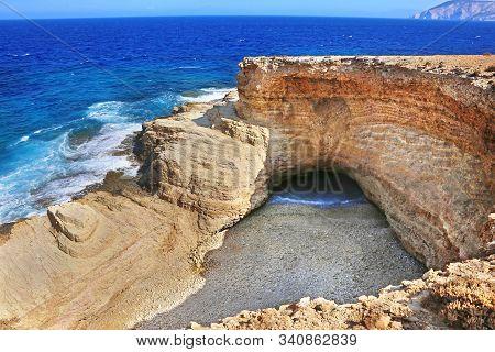 The Famous Gala Beach At Ano Koufonisi Island Greece - The Sea Enters The Beach Via A Narrow Corrido