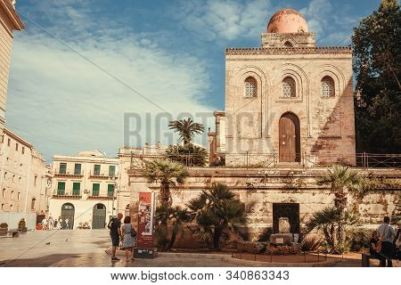 Palermo, Italy: People Walking Around 12th Century Church Of San Cataldo, Built In Romanesque Style