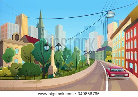 Car Riding Down Street Flat Vector Illustration. Luxury Automobile On Road In Cosy District. Buildin