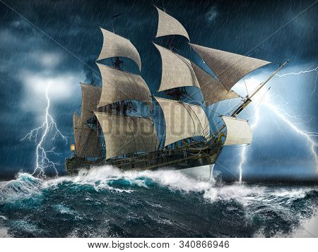 Ocean Sailing Ship In Distress, Struggling To Stay Afloat, In A Heavy Storm With Big Waves And Light