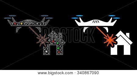 Glowing Mesh Laser Drone Attacks House Icon With Lightspot Effect. Abstract Illuminated Model Of Las