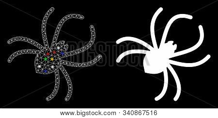Glossy Mesh Parasite Spider Icon With Sparkle Effect. Abstract Illuminated Model Of Parasite Spider.