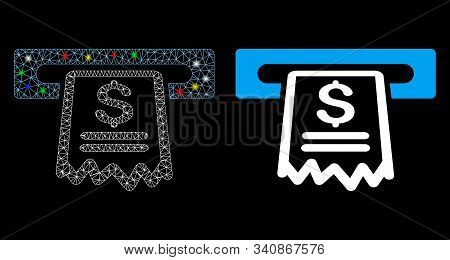 Flare Mesh Cashier Receipt Icon With Lightspot Effect. Abstract Illuminated Model Of Cashier Receipt