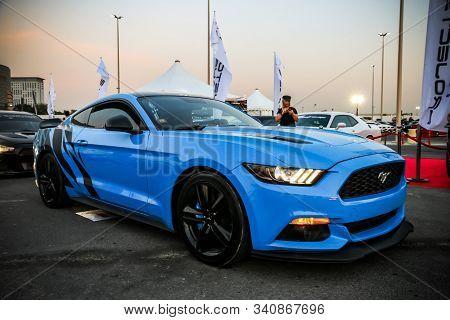 Dubai, Uae - November 15, 2018: Modern American Muscle Car Ford Mustang Takes Part In The Annual Gul