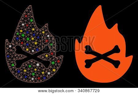 Glossy Mesh Hellfire Flame Icon With Glow Effect. Abstract Illuminated Model Of Hellfire Flame. Shin