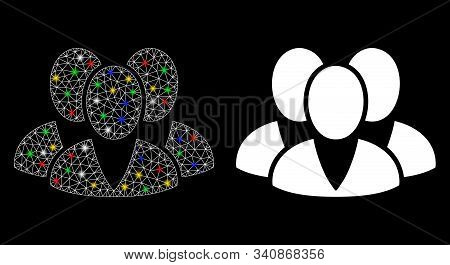 Glossy Mesh Clients Icon With Glow Effect. Abstract Illuminated Model Of Clients. Shiny Wire Carcass