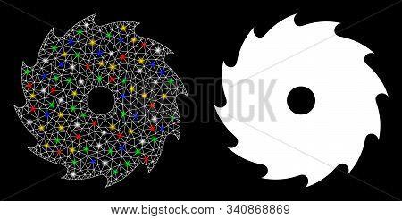 Glossy Mesh Circular Saw Icon With Lightspot Effect. Abstract Illuminated Model Of Circular Saw. Shi