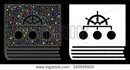 Glossy Mesh Ship Guide Book Icon With Glitter Effect. Abstract Illuminated Model Of Ship Guide Book.