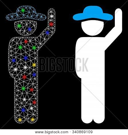 Glowing Mesh Gentleman Hello Icon With Sparkle Effect. Abstract Illuminated Model Of Gentleman Hello