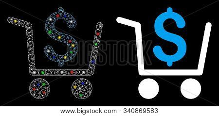 Flare Mesh Checkout Icon With Glow Effect. Abstract Illuminated Model Of Checkout. Shiny Wire Carcas
