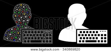 Glossy Mesh Coder Icon With Glitter Effect. Abstract Illuminated Model Of Coder. Shiny Wire Frame Po