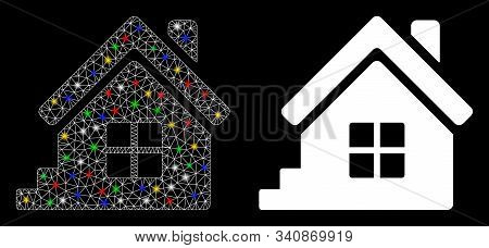 Flare Mesh House Porch Icon With Glare Effect. Abstract Illuminated Model Of House Porch. Shiny Wire
