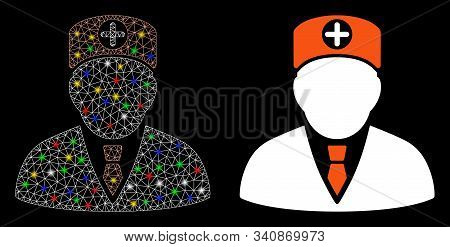 Bright Mesh Head Physician Icon With Glitter Effect. Abstract Illuminated Model Of Head Physician. S