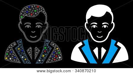 Glowing Mesh Noble Gentleman Icon With Glare Effect. Abstract Illuminated Model Of Noble Gentleman.