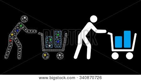 Bright Mesh Client With Shopping Cart Icon With Glare Effect. Abstract Illuminated Model Of Client W