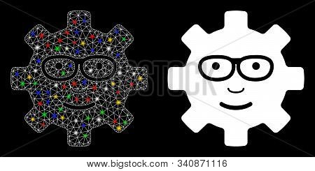Flare Mesh Service Gear Glad Smile Icon With Sparkle Effect. Abstract Illuminated Model Of Service G