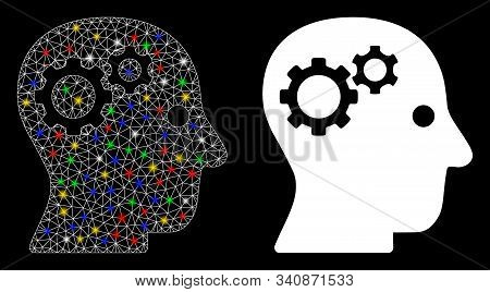 Glossy Mesh Intellect Gears Icon With Glitter Effect. Abstract Illuminated Model Of Intellect Gears.