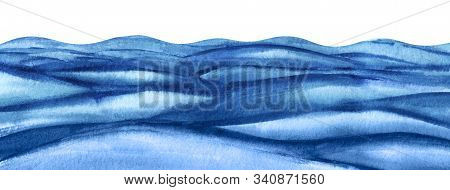 Abstract Background Illustration. Rough Surface Of The Reservoir. A Lot Of Blue Turquoise Waves. Wav