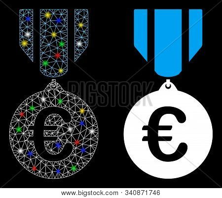 Flare Mesh Euro Honor Medal Icon With Glitter Effect. Abstract Illuminated Model Of Euro Honor Medal