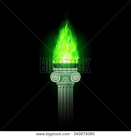 Ancient Column With Green Flame. Illustration Of A Flaming Torch Based On The Torches Of Ancient Gre
