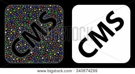 Glossy Mesh Cms Icon With Glow Effect. Abstract Illuminated Model Of Cms. Shiny Wire Carcass Triangu