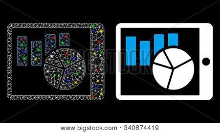 Flare Mesh Charts On Pda Icon With Glitter Effect. Abstract Illuminated Model Of Charts On Pda. Shin