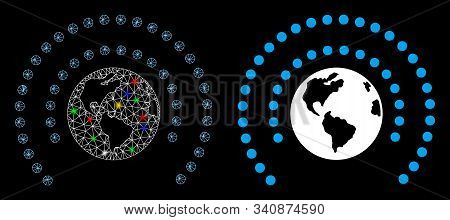 Flare Mesh Earth Sphere Shield Icon With Sparkle Effect. Abstract Illuminated Model Of Earth Sphere
