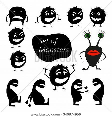 Set Of Funny Cute Silhouette Creatures With Different Emotions. Isolated Critters Hand-drawn. Design