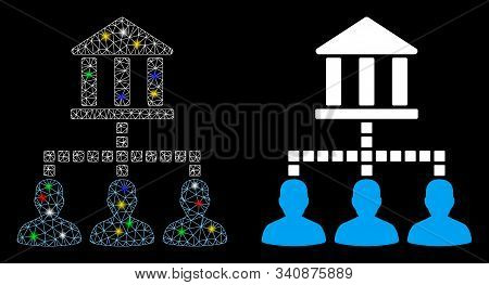 Flare Mesh Bank Clients Icon With Lightspot Effect. Abstract Illuminated Model Of Bank Clients. Shin