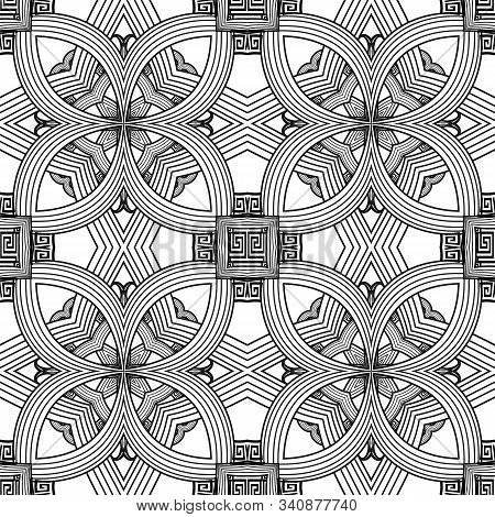 Greek Floral Intricate Lines Seamless Pattern. Vector Abstract Black And White Background. Line Art