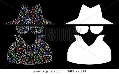 Glowing Mesh Spy Icon With Sparkle Effect. Abstract Illuminated Model Of Spy. Shiny Wire Frame Polyg