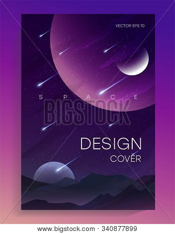 Abstract Vector Illustration Of Space, Mountain Landscape And Planetary Space For A Poster, Banner O
