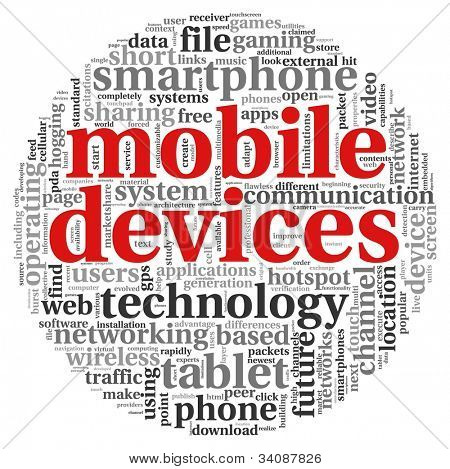 Mobile devices concept in tag cloud on white background