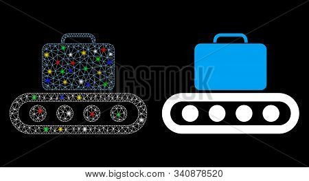 Glowing Mesh Baggage Conveyor Icon With Sparkle Effect. Abstract Illuminated Model Of Baggage Convey