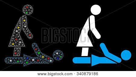 Bright Mesh Thai Massage Icon With Glare Effect. Abstract Illuminated Model Of Thai Massage. Shiny W