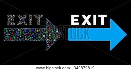 Glossy Mesh Exit Arrow Icon With Lightspot Effect. Abstract Illuminated Model Of Exit Arrow. Shiny W
