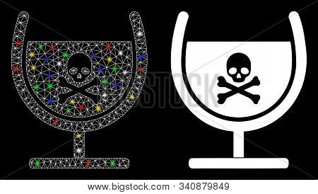 Glossy Mesh Poison Glass Icon With Sparkle Effect. Abstract Illuminated Model Of Poison Glass. Shiny