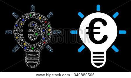 Bright Mesh Euro Innovation Icon With Glare Effect. Abstract Illuminated Model Of Euro Innovation. S