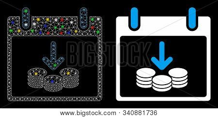 Glowing Mesh Coins Income Calendar Day Icon With Glitter Effect. Abstract Illuminated Model Of Coins