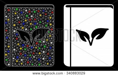 Bright Mesh Flora Book Icon With Glare Effect. Abstract Illuminated Model Of Flora Book. Shiny Wire