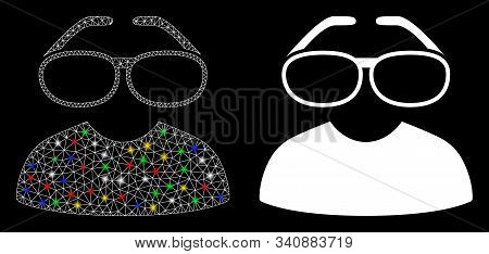 Glowing Mesh Clever Spectacles Icon With Glitter Effect. Abstract Illuminated Model Of Clever Specta