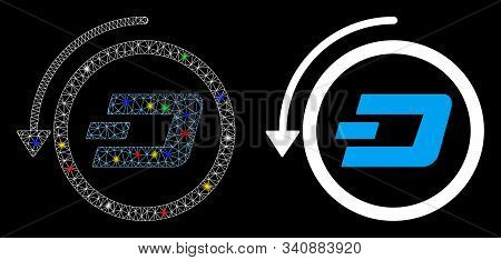 Glossy Mesh Dash Revert Payment Icon With Sparkle Effect. Abstract Illuminated Model Of Dash Revert