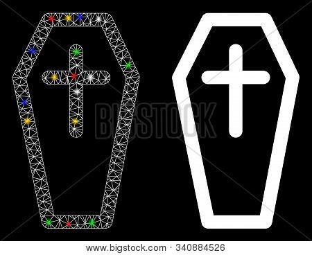 Flare Mesh Christian Coffin Icon With Glitter Effect. Abstract Illuminated Model Of Christian Coffin