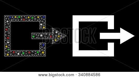 Glossy Mesh Exit Icon With Glare Effect. Abstract Illuminated Model Of Exit. Shiny Wire Frame Polygo