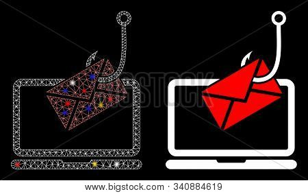 Glowing Mesh Laptop Letter Phishing Icon With Sparkle Effect. Abstract Illuminated Model Of Laptop L
